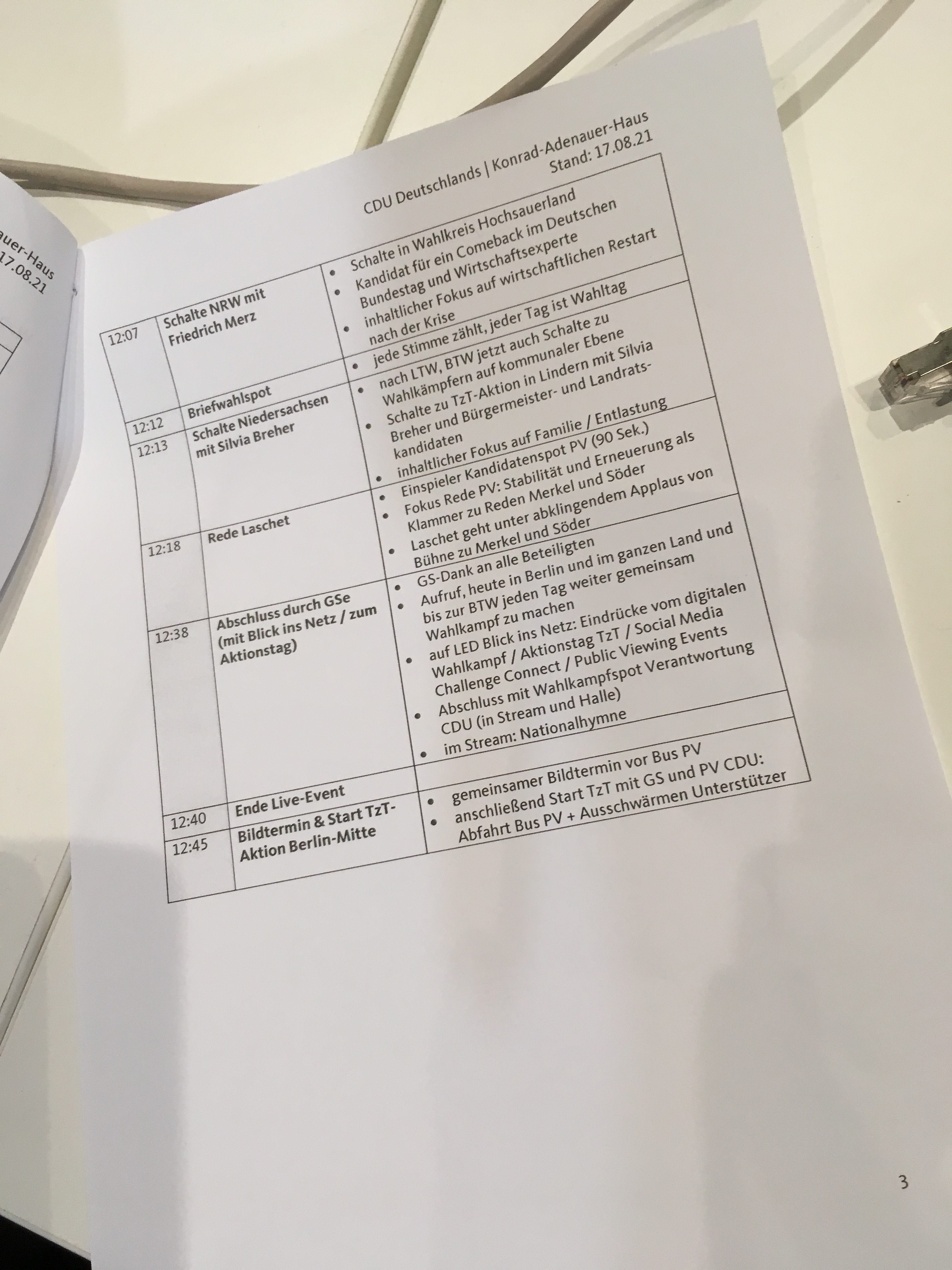 Ablaufplan Wahlkampfauftakt CDU/CSU 2021